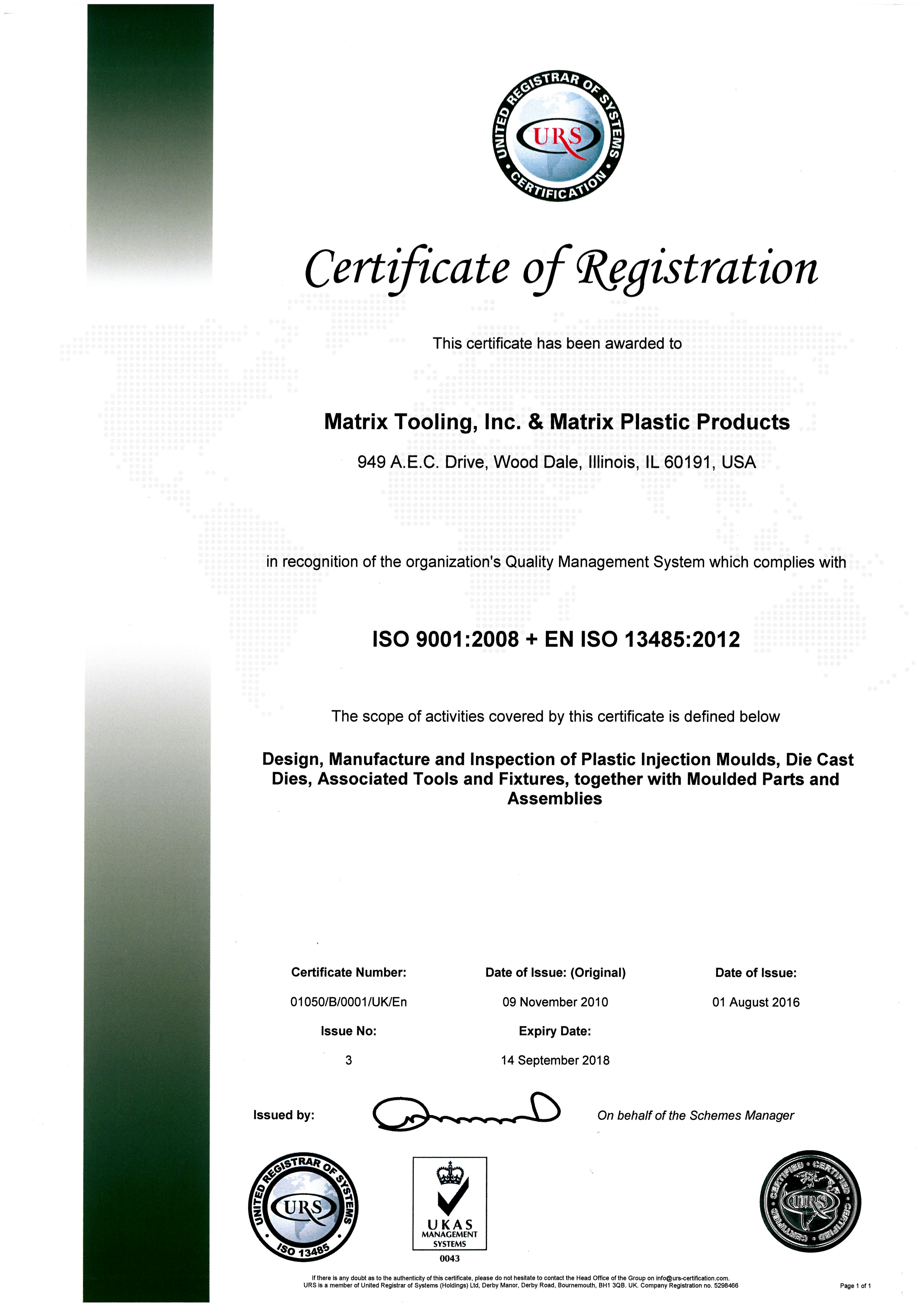 matrixisocertificate9001 2008 13485 2012